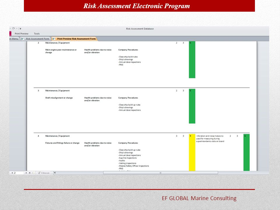 Risk Assessment Electronic Program EF GLOBAL Marine Consulting