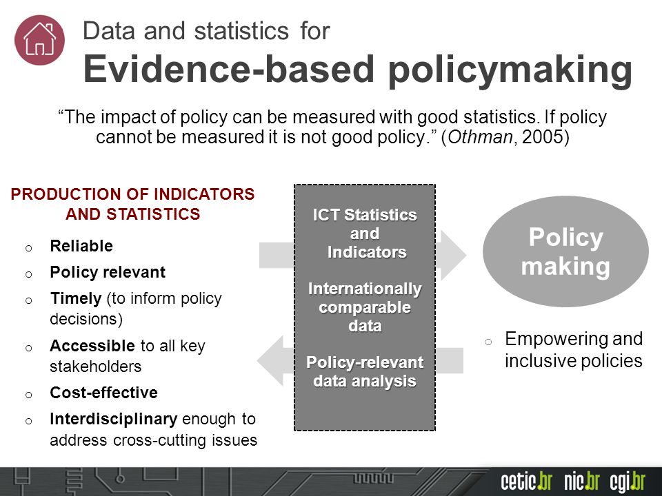 o Reliable o Policy relevant o Timely (to inform policy decisions) o Accessible to all key stakeholders o Cost-effective o Interdisciplinary enough to address cross-cutting issues Policy making o Empowering and inclusive policies PRODUCTION OF INDICATORS AND STATISTICS Data and statistics for Evidence-based policymaking ICT Statistics and Indicators Indicators Internationally comparable data Policy-relevant data analysis The impact of policy can be measured with good statistics.