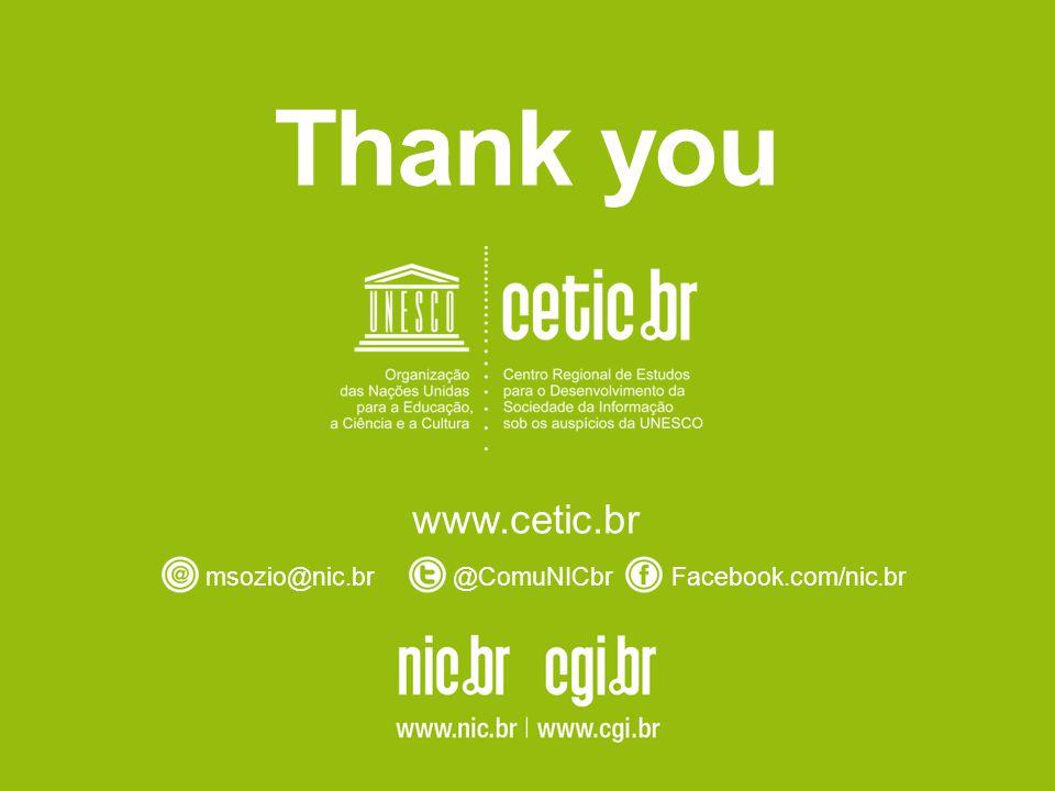 Thank you www.cetic.br msozio@nic.br@ComuNICbrFacebook.com/nic.br