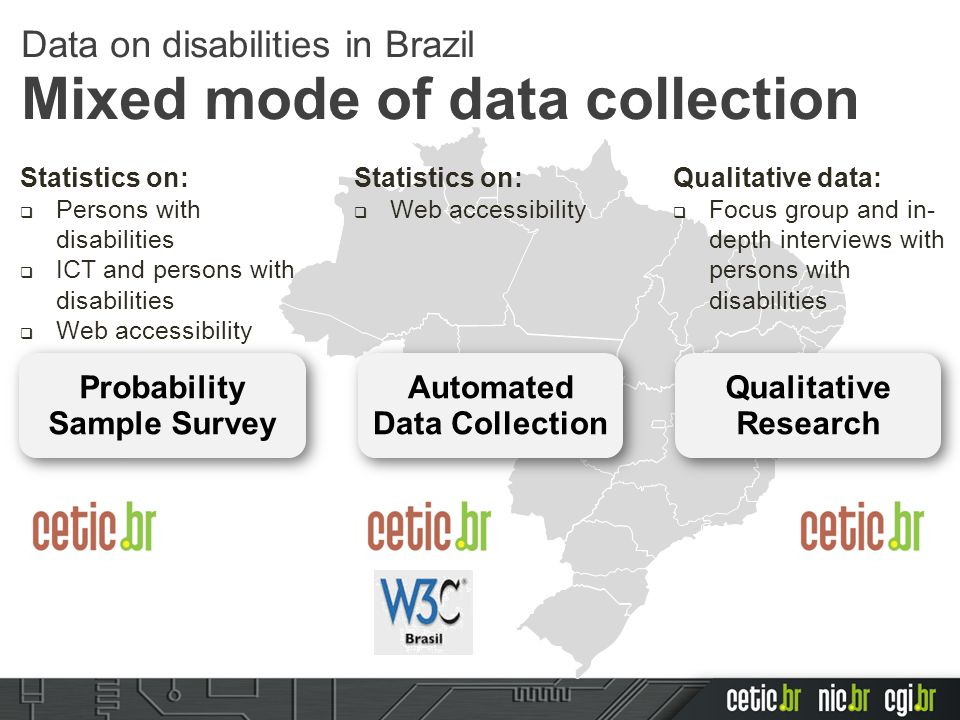Statistics on:  Persons with disabilities  ICT and persons with disabilities  Web accessibility Automated Data Collection Probability Sample Survey Qualitative Research Statistics on:  Web accessibility Qualitative data:  Focus group and in- depth interviews with persons with disabilities Data on disabilities in Brazil Mixed mode of data collection
