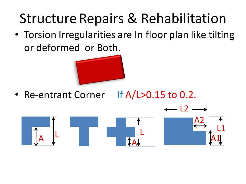 Structure Repairs & Rehabilitation Torsion Irregularities are In floor plan like tilting or deformed or Both.
