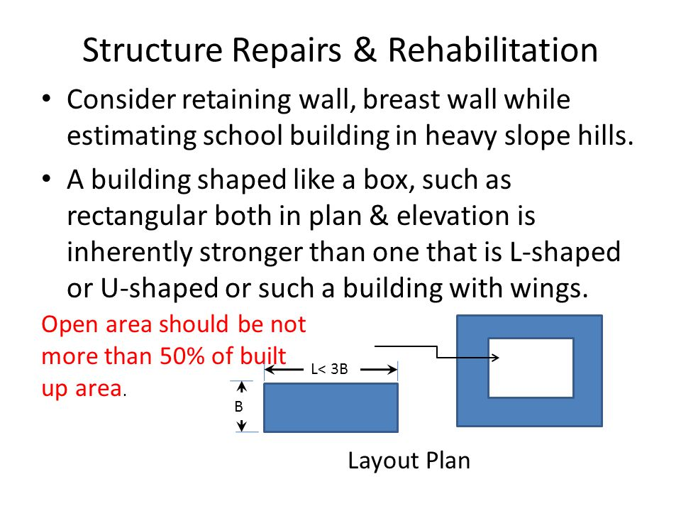 Structure Repairs & Rehabilitation Consider retaining wall, breast wall while estimating school building in heavy slope hills.