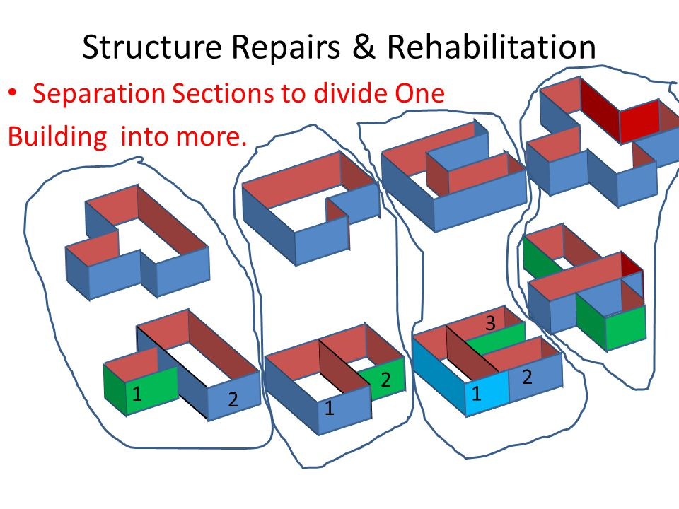 Structure Repairs & Rehabilitation Separation Sections to divide One Building into more.