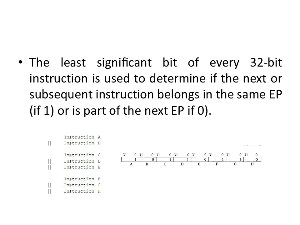 The least significant bit of every 32-bit instruction is used to determine if the next or subsequent instruction belongs in the same EP (if 1) or is part of the next EP if 0).