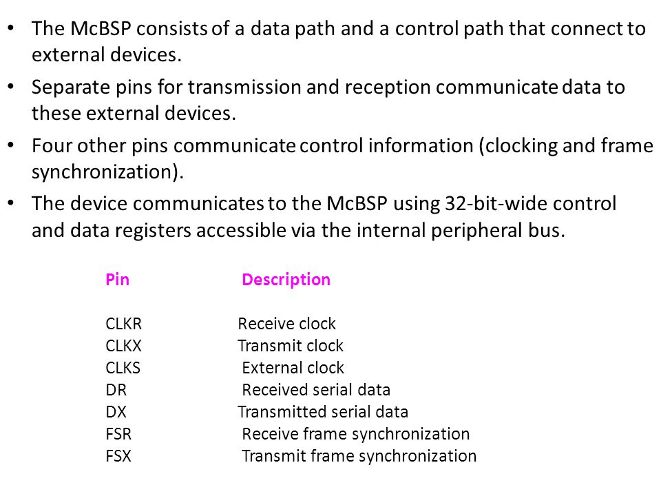 The McBSP consists of a data path and a control path that connect to external devices.