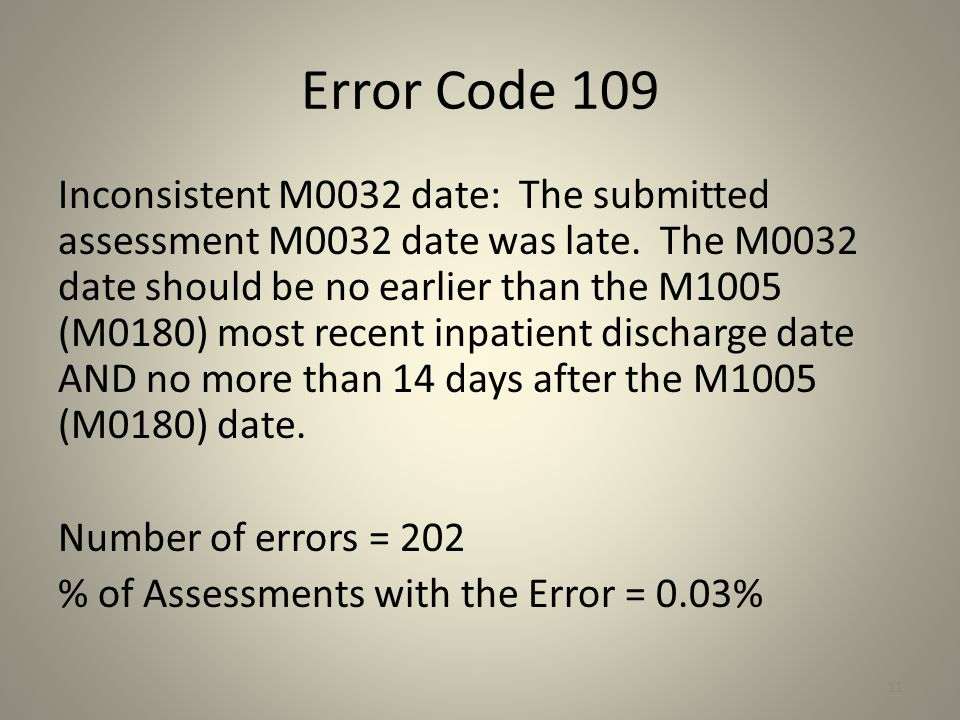 Error Code 109 Inconsistent M0032 date: The submitted assessment M0032 date was late. The M0032 date should be no earlier than the M1005 (M0180) most