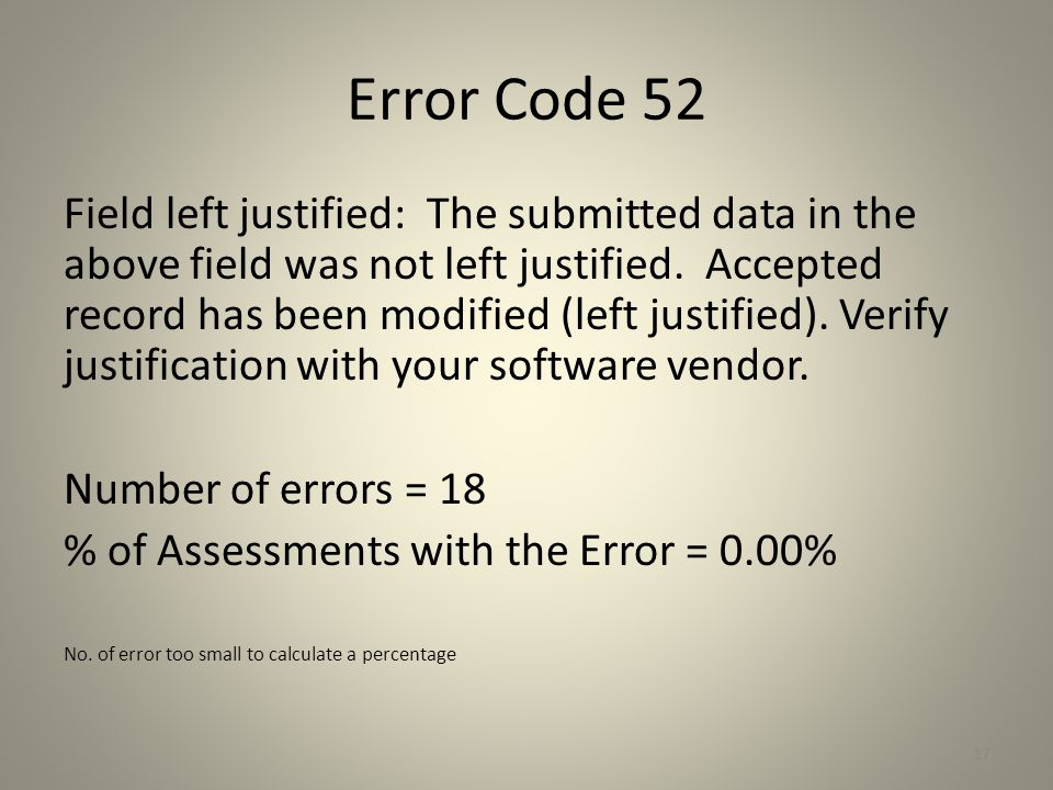 Error Code 52 Field left justified: The submitted data in the above field was not left justified. Accepted record has been modified (left justified).