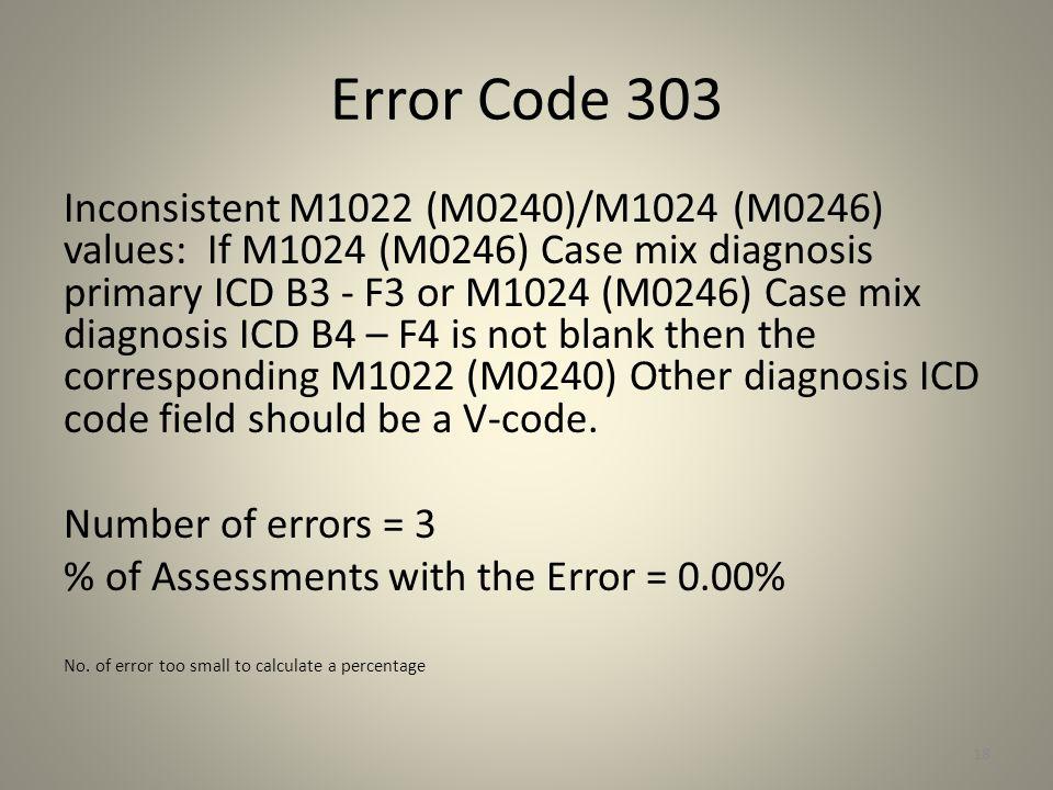 Error Code 303 Inconsistent M1022 (M0240)/M1024 (M0246) values: If M1024 (M0246) Case mix diagnosis primary ICD B3 - F3 or M1024 (M0246) Case mix diag
