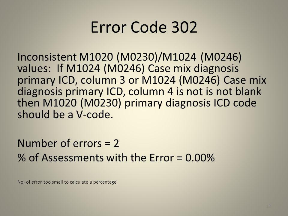 Error Code 302 Inconsistent M1020 (M0230)/M1024 (M0246) values: If M1024 (M0246) Case mix diagnosis primary ICD, column 3 or M1024 (M0246) Case mix di