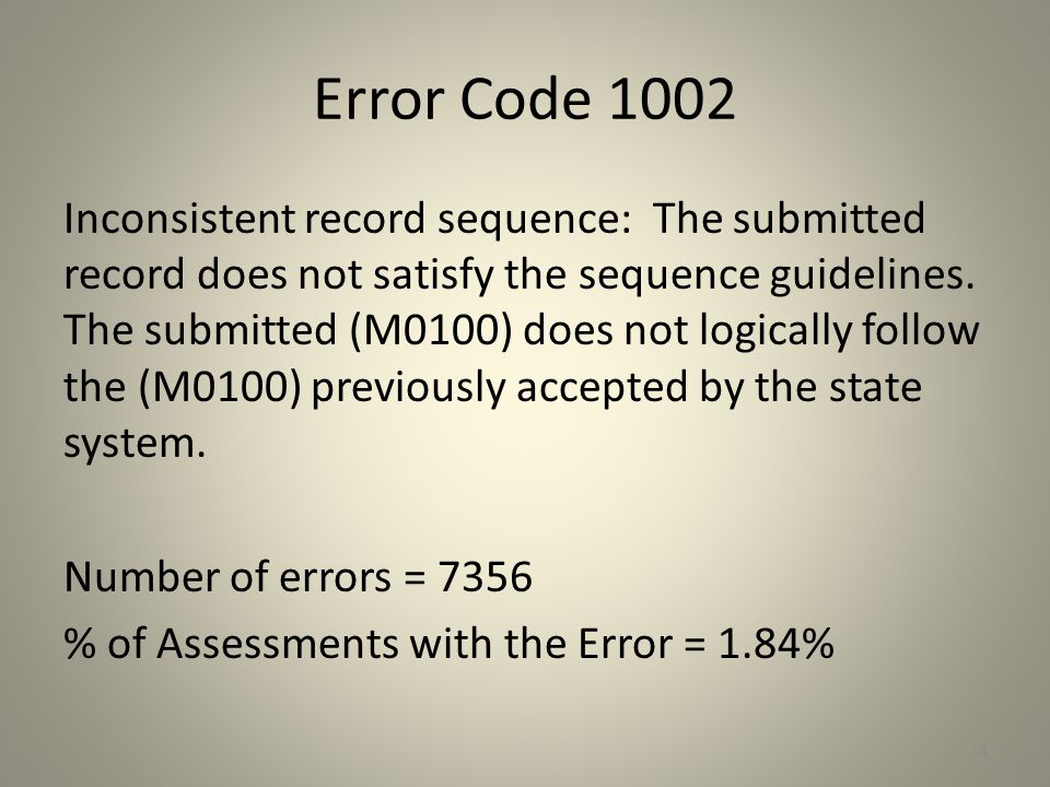 Error Code 287 Inconsistent M1020 (M0230) Primary diagnosis ICD code/M1020 (M0230)Severity Rating: The Severity Rating for the Primary Diagnosis should not be 00 .
