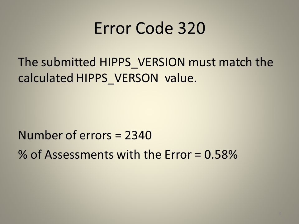 Error Code 320 The submitted HIPPS_VERSION must match the calculated HIPPS_VERSON value. Number of errors = 2340 % of Assessments with the Error = 0.5