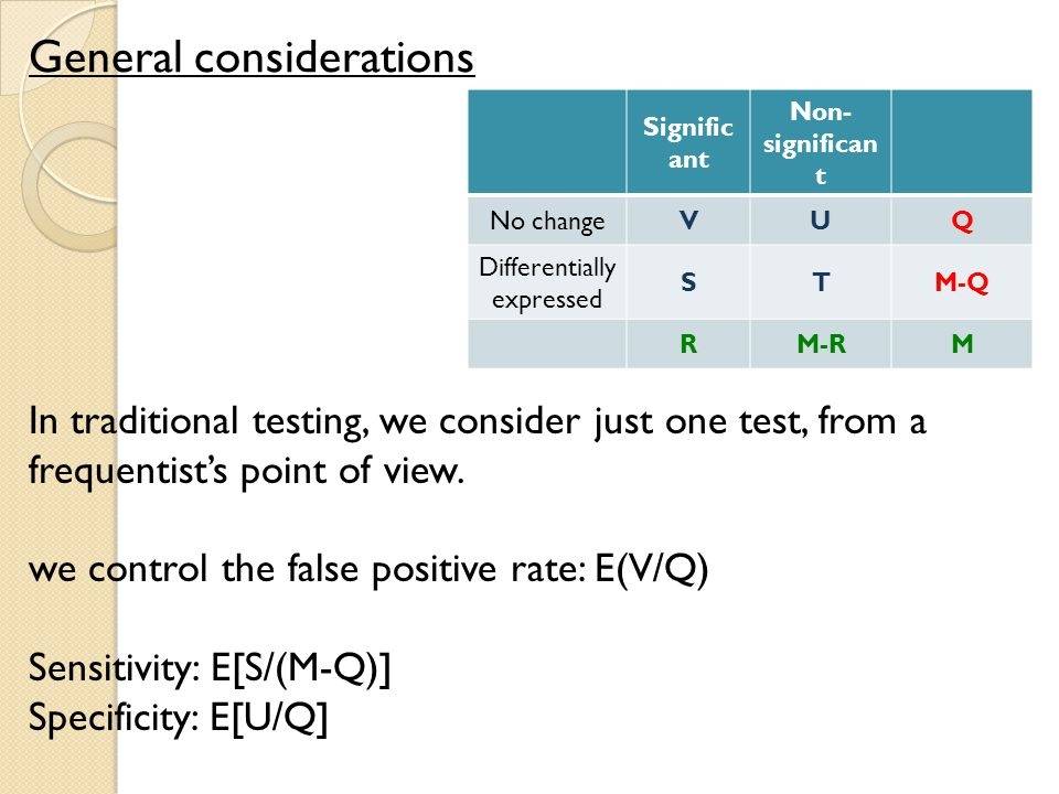 General considerations Signific ant Non- significan t No changeVUQ Differentially expressed STM-Q RM-RM In traditional testing, we consider just one test, from a frequentist's point of view.