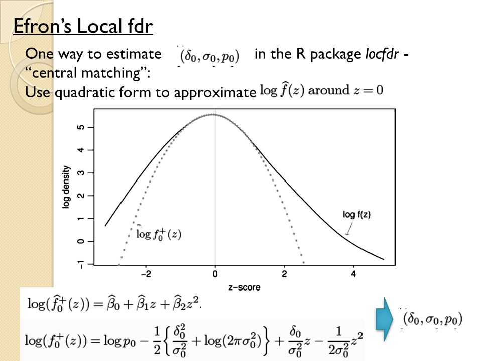 "One way to estimate in the R package locfdr - ""central matching"": Use quadratic form to approximate Efron's Local fdr"