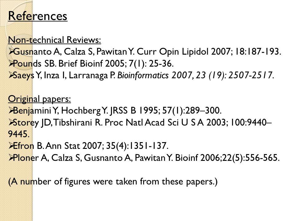 Non-technical Reviews:  Gusnanto A, Calza S, Pawitan Y.
