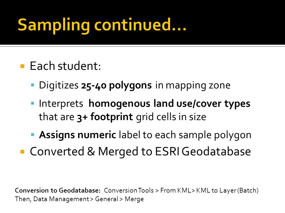  Each student:  Digitizes 25-40 polygons in mapping zone  Interprets homogenous land use/cover types that are 3+ footprint grid cells in size  Ass