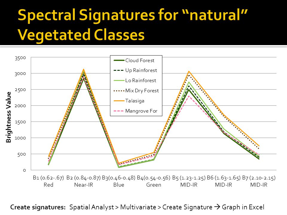 Create signatures: Spatial Analyst > Multivariate > Create Signature  Graph in Excel