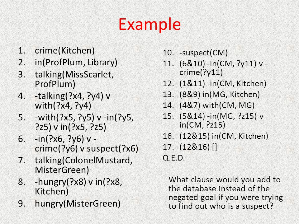 Example 1.crime(Kitchen) 2.in(ProfPlum, Library) 3.talking(MissScarlet, ProfPlum) 4.-talking(?x4, ?y4) v with(?x4, ?y4) 5.-with(?x5, ?y5) v -in(?y5, ?