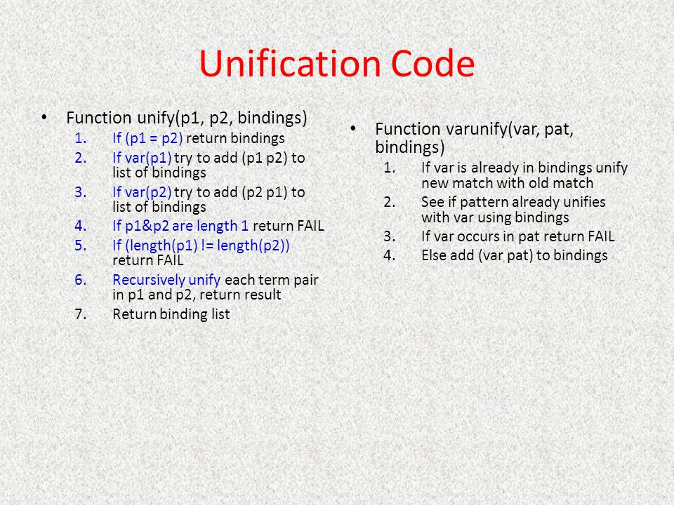 Unification Code Function unify(p1, p2, bindings) 1.If (p1 = p2) return bindings 2.If var(p1) try to add (p1 p2) to list of bindings 3.If var(p2) try