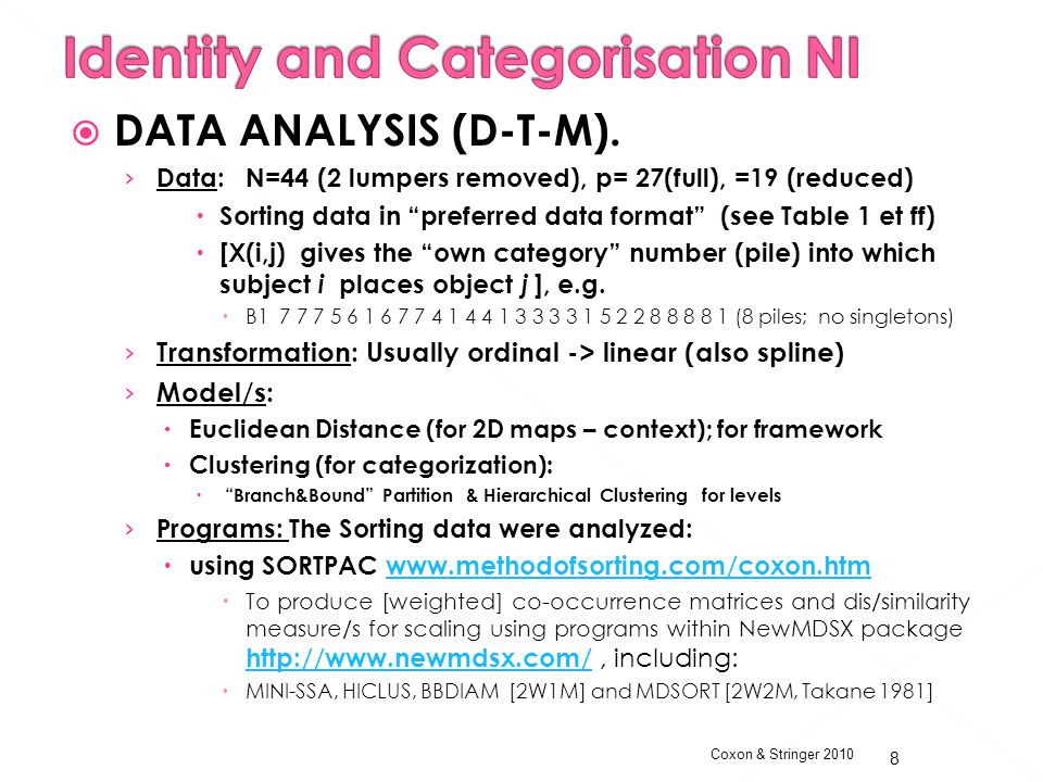 Coxon & Stringer 2010  DATA ANALYSIS (D-T-M).
