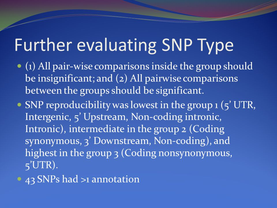 Further evaluating SNP Type (1) All pair-wise comparisons inside the group should be insignificant; and (2) All pairwise comparisons between the groups should be significant.