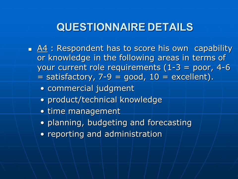 QUESTIONNAIRE DETAILS A4 : Respondent has to score his own capability or knowledge in the following areas in terms of your current role requirements (