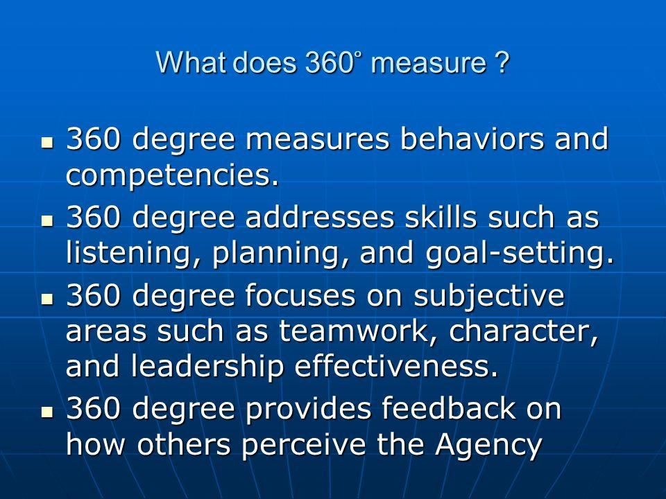 What does 360 ̊ measure ? 360 degree measures behaviors and competencies. 360 degree measures behaviors and competencies. 360 degree addresses skills