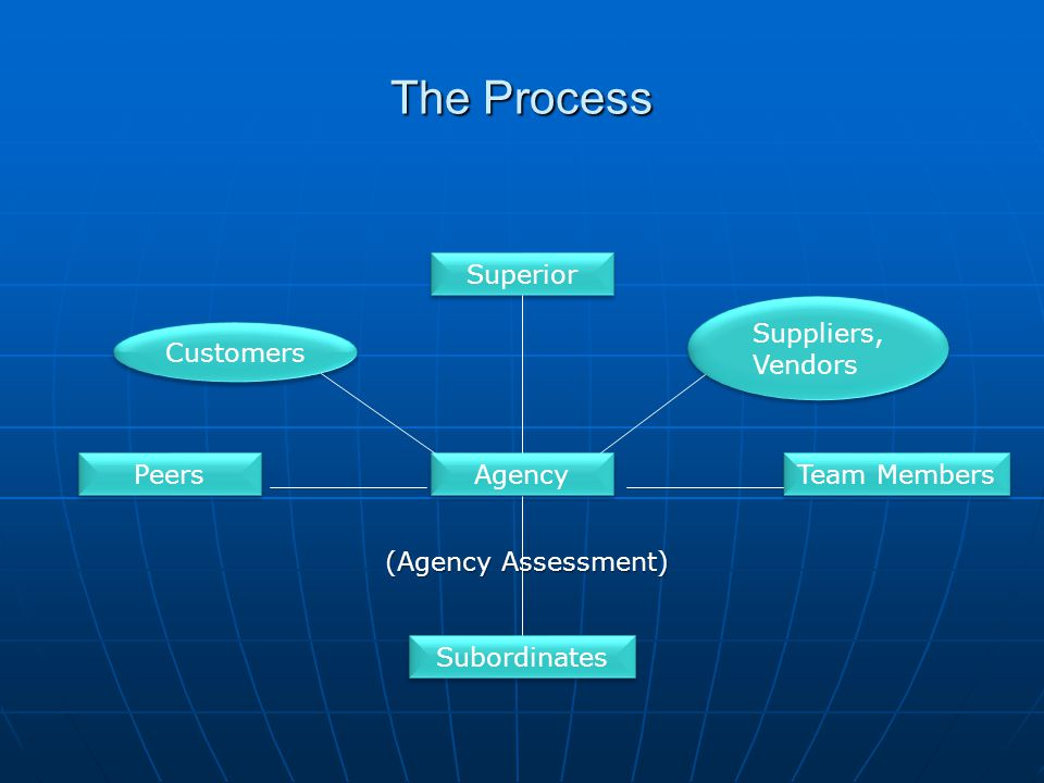 The Process (Agency Assessment) Customers Suppliers, Vendors Team Members Peers Subordinates Agency Superior