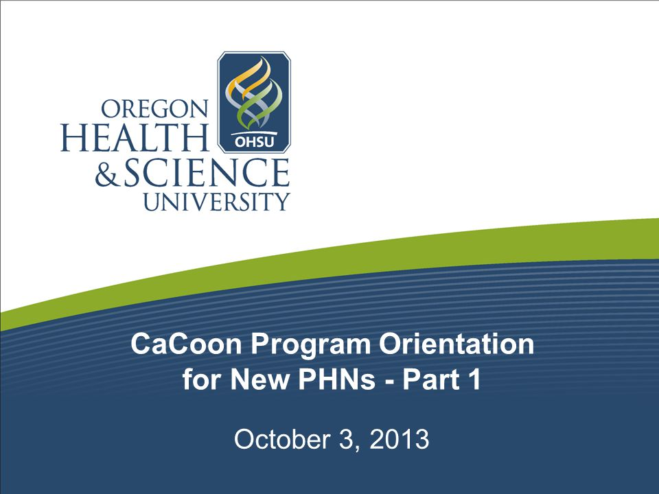 CaCoon Program Orientation for New PHNs - Part 1 October 3, 2013