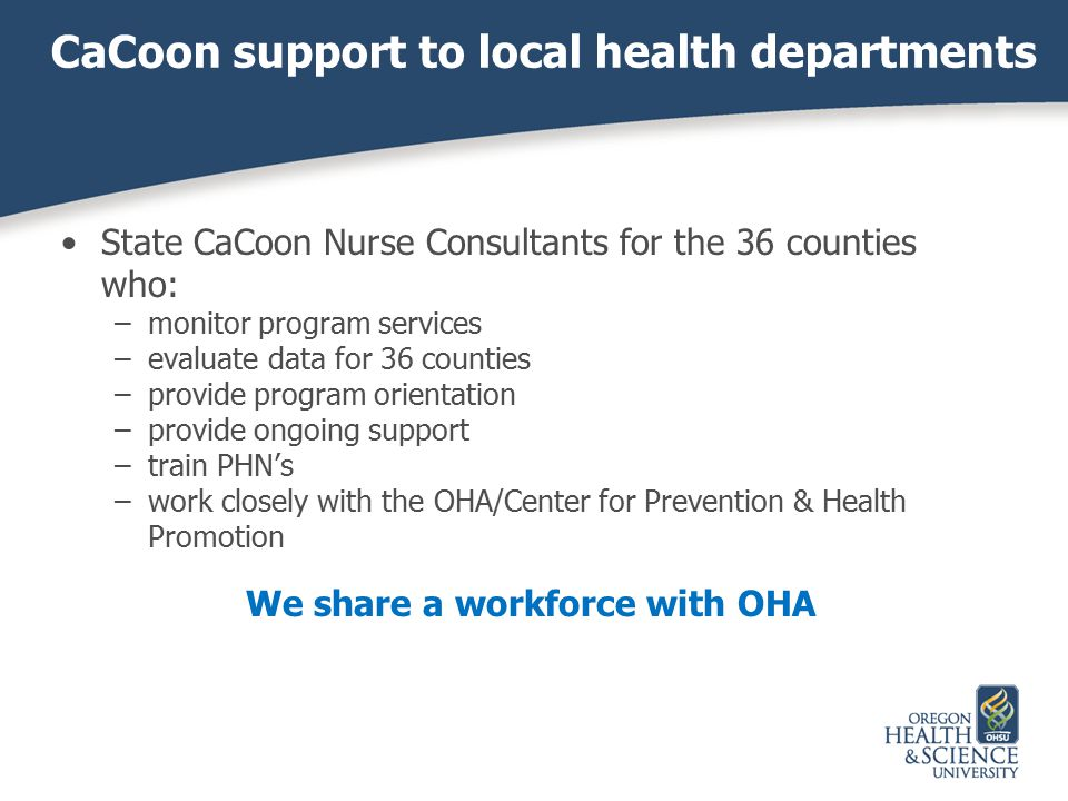 CaCoon support to local health departments State CaCoon Nurse Consultants for the 36 counties who: –monitor program services –evaluate data for 36 cou