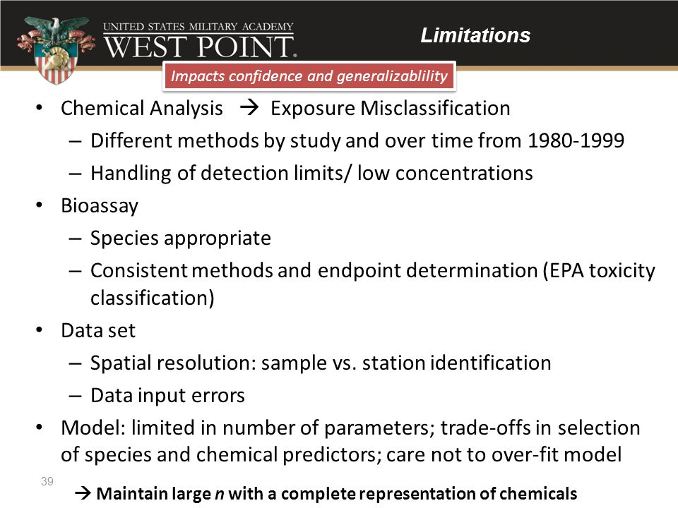 Limitations Chemical Analysis  Exposure Misclassification – Different methods by study and over time from 1980-1999 – Handling of detection limits/ l