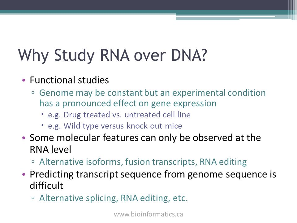 Why Study RNA over DNA? Functional studies ▫ Genome may be constant but an experimental condition has a pronounced effect on gene expression  e.g. Dr