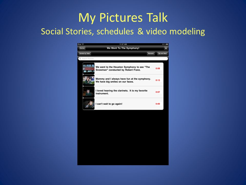 My Pictures Talk Social Stories, schedules & video modeling