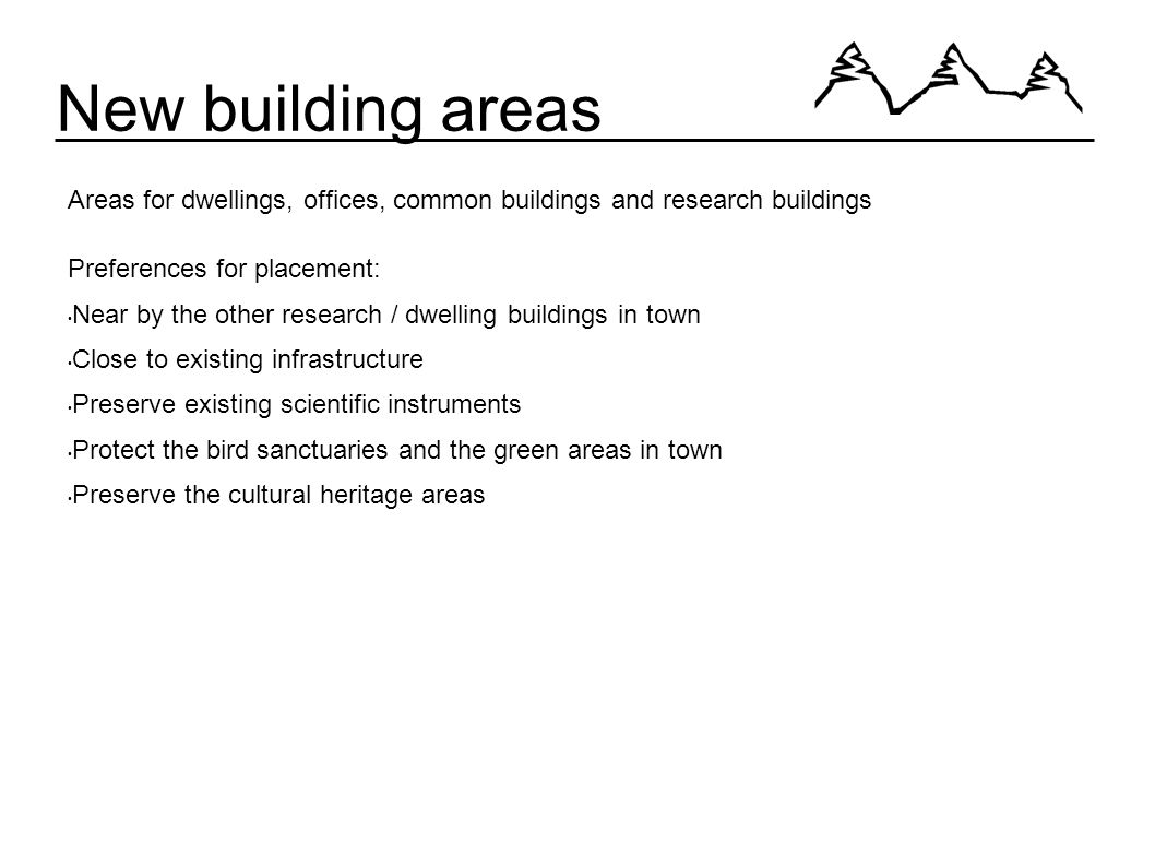 New building areas Areas for dwellings, offices, common buildings and research buildings Preferences for placement: Near by the other research / dwelling buildings in town Close to existing infrastructure Preserve existing scientific instruments Protect the bird sanctuaries and the green areas in town Preserve the cultural heritage areas