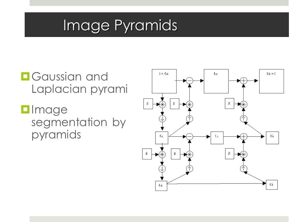 Image Pyramids  Gaussian and Laplacian pyramids  Image segmentation by pyramids
