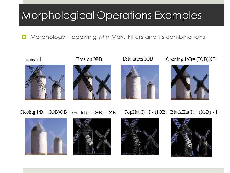 Morphological Operations Examples  Morphology - applying Min-Max.