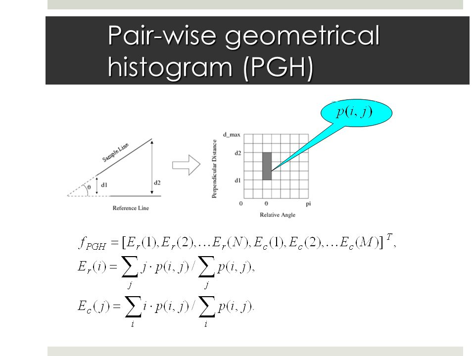 Pair-wise geometrical histogram (PGH)