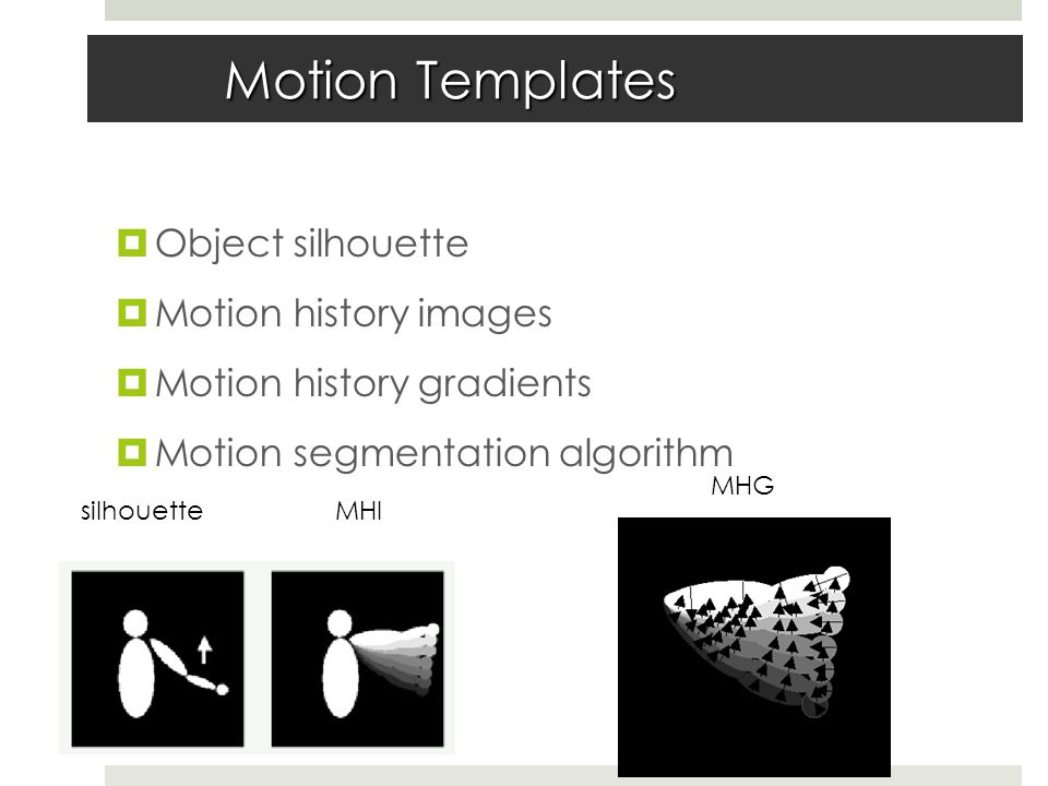 Motion Templates  Object silhouette  Motion history images  Motion history gradients  Motion segmentation algorithm silhouetteMHI MHG