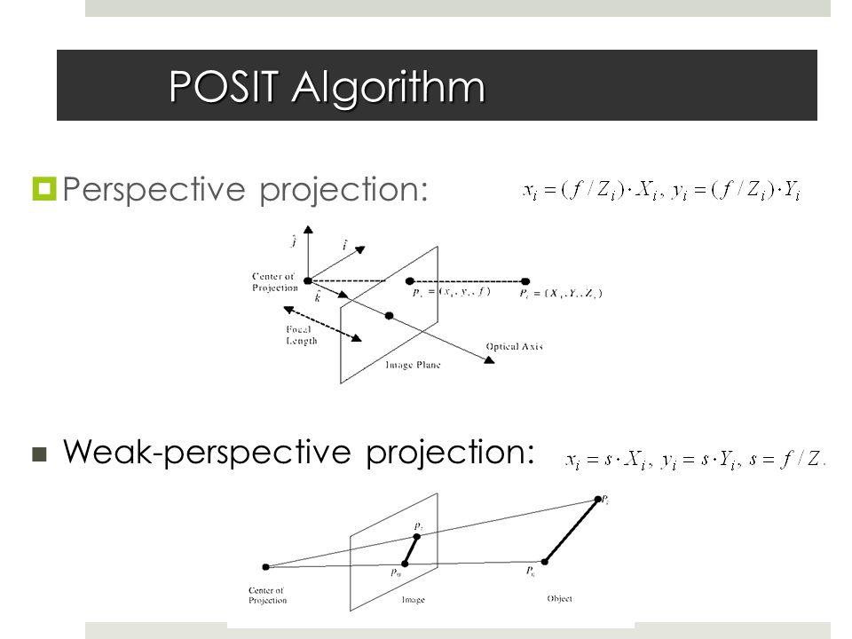 POSIT Algorithm  Perspective projection: Weak-perspective projection: