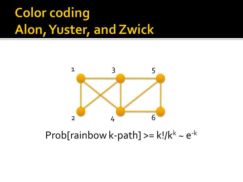 13 5 246 Prob[rainbow k-path] >= k!/k k ~ e -k