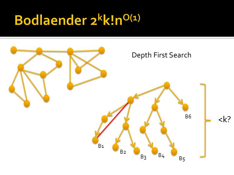 <k B1 B2 B3 B4 B5 B6 Depth First Search