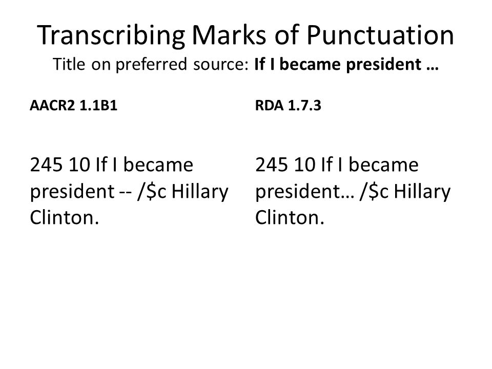 Transcribing Marks of Punctuation Title on preferred source: If I became president … AACR2 1.1B1 245 10 If I became president -- /$c Hillary Clinton.