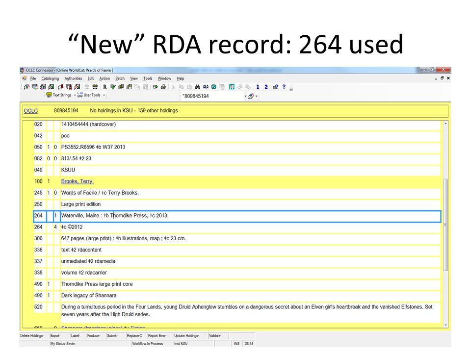 New RDA record: 264 used