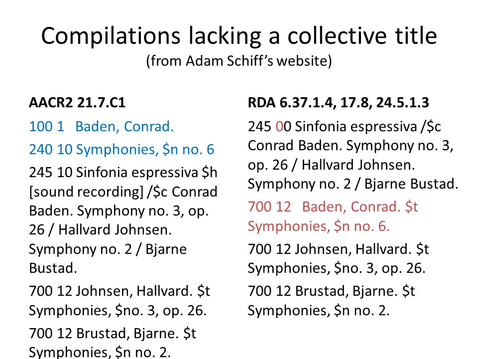 Compilations lacking a collective title (from Adam Schiff's website) AACR2 21.7.C1 100 1 Baden, Conrad. 240 10 Symphonies, $n no. 6 245 10 Sinfonia es