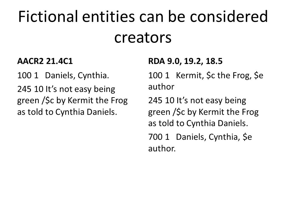 Fictional entities can be considered creators AACR2 21.4C1 100 1 Daniels, Cynthia. 245 10 It's not easy being green /$c by Kermit the Frog as told to