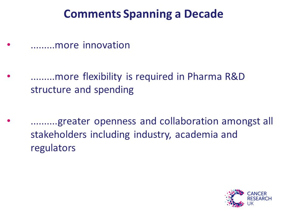 Comments Spanning a Decade.........more innovation.........more flexibility is required in Pharma R&D structure and spending..........greater openness and collaboration amongst all stakeholders including industry, academia and regulators