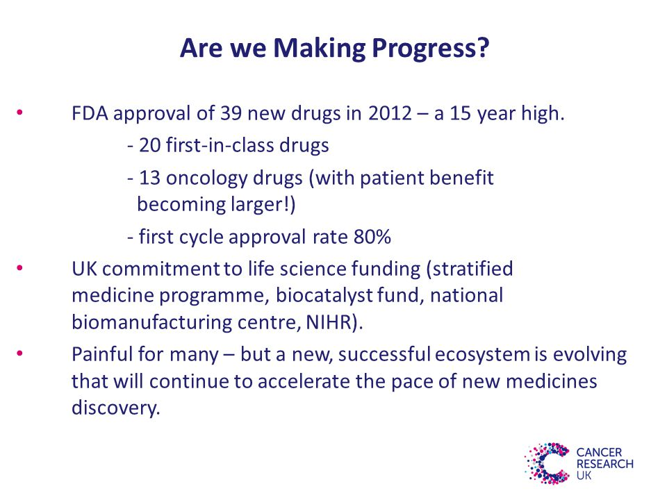 Are we Making Progress. FDA approval of 39 new drugs in 2012 – a 15 year high.