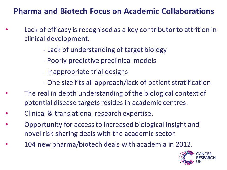 Pharma and Biotech Focus on Academic Collaborations Lack of efficacy is recognised as a key contributor to attrition in clinical development.
