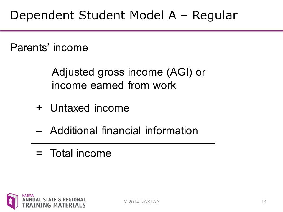 © 2014 NASFAA13 Dependent Student Model A – Regular Parents' income Adjusted gross income (AGI) or income earned from work + Untaxed income –Additional financial information =Total income