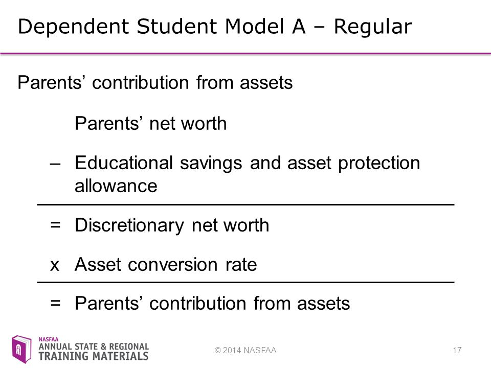 © 2014 NASFAA17 Dependent Student Model A – Regular Parents' contribution from assets Parents' net worth – Educational savings and asset protection allowance =Discretionary net worth xAsset conversion rate =Parents' contribution from assets