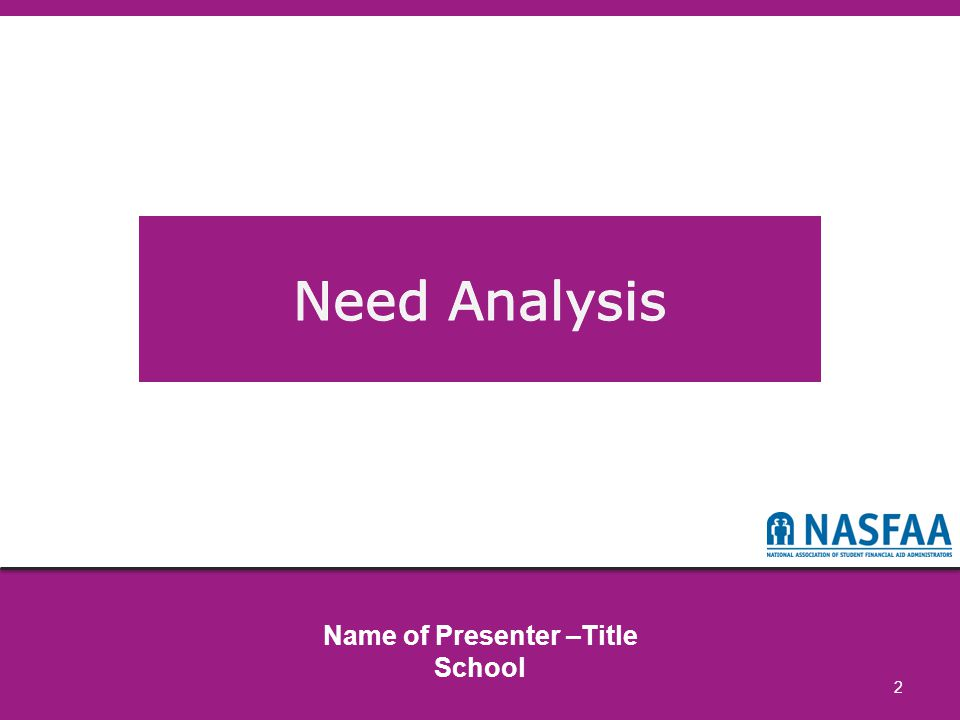 © 2014 NASFAA73 Why Should I Understand Need Analysis.